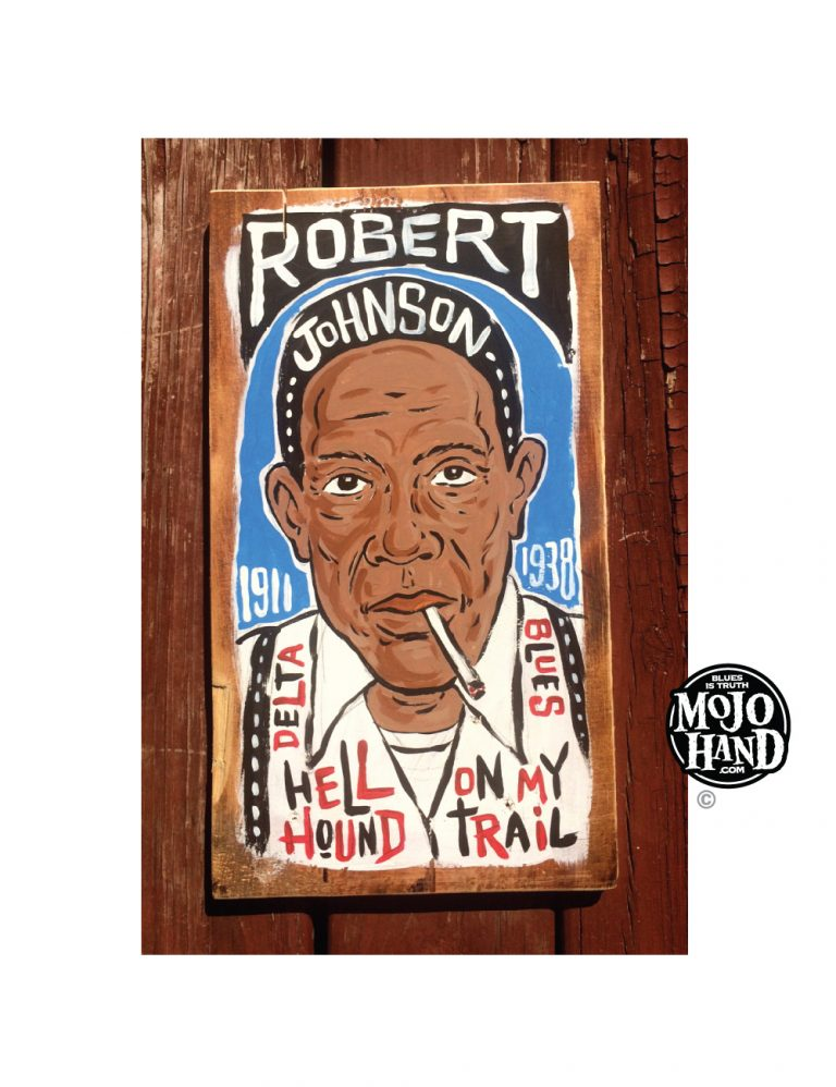 Robert Johnson cut wood folk art painting