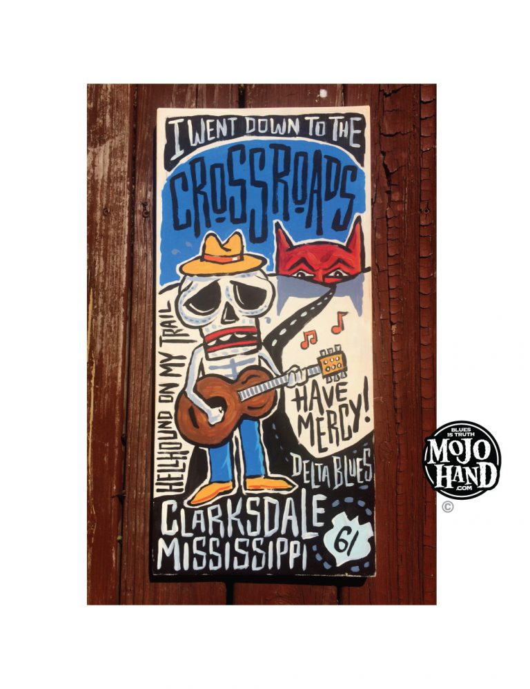 crossroads blues folk art painting by grego at mojohand.com