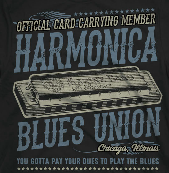 Blues harmonica t-shirts at Mojohand.com – the finest in Blues gifts, apparel and hats since 2001.