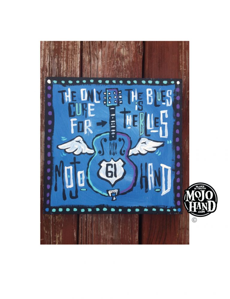Blues Flying Guitar Painting