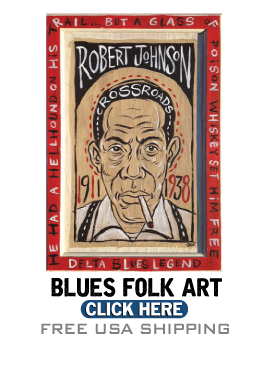 Blues Folk Art Paintings, Blues t-shirts and Blues Gifts