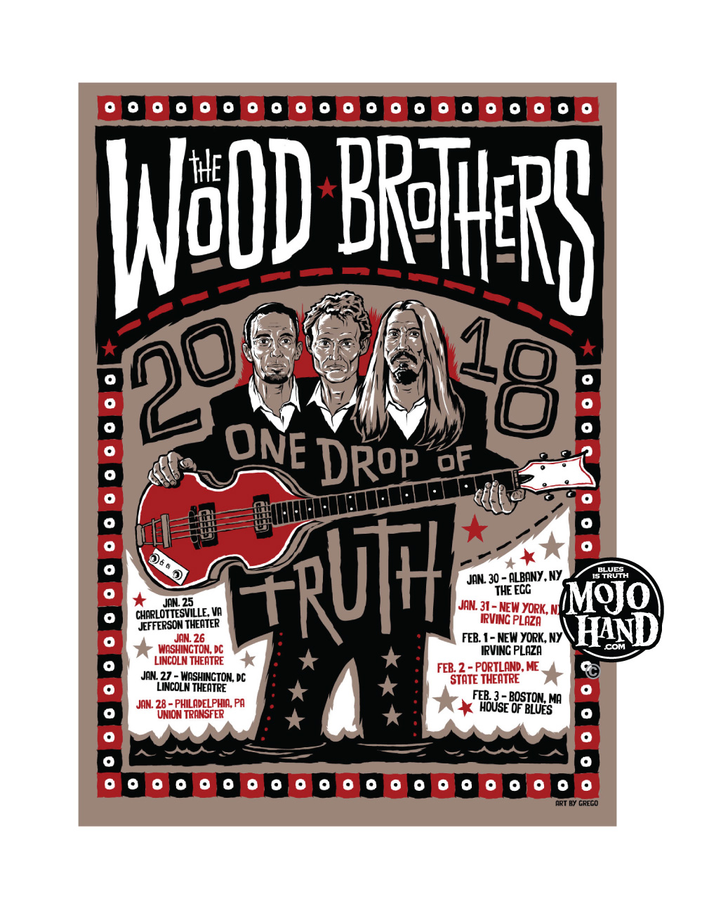 the wood brothers concert poster, folk art style by Grego Anderson - Mojohand.com