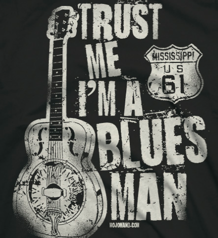 Blues man tee detail