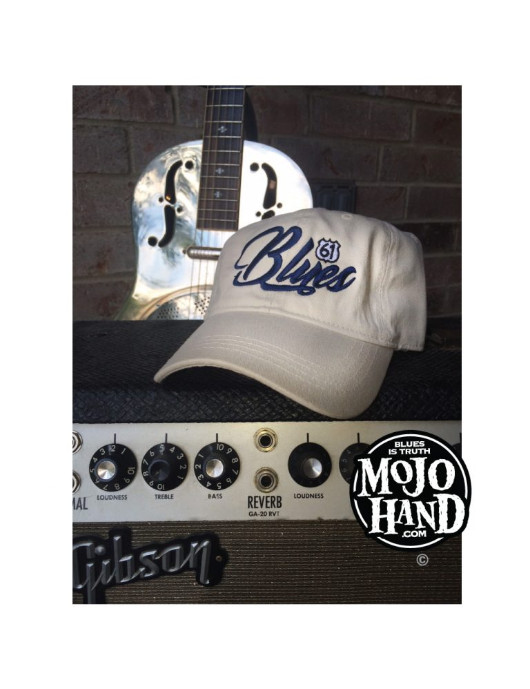 Blues Script Embroidered Hat Antique White
