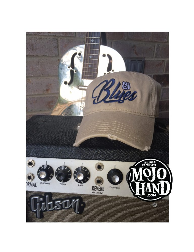 Blues Script Embroidered Hat Khaki