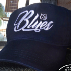 Blues Script Embroidered Hat Navy