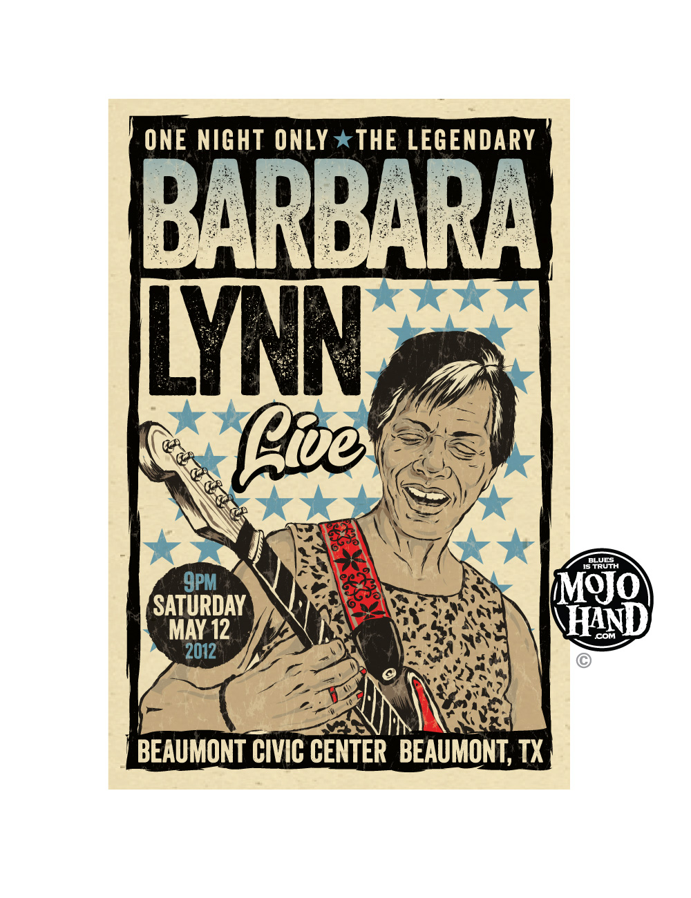 Barbara Lynn concert poster for sale - the soul and blues queen from a 2012 show - only available at Mojohand.com - just $20 with Free US shipping
