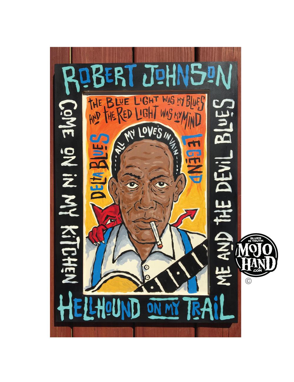 robert johnson blues painting folk art cabinet door big wooden art piece